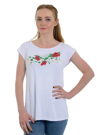 Белая женская трикотажная туника вышиванка сакура