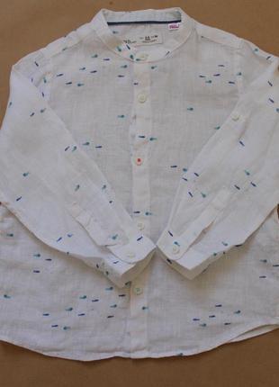 Zara детская льняная летняя рубашка унисекс на 2-3 года 98 см