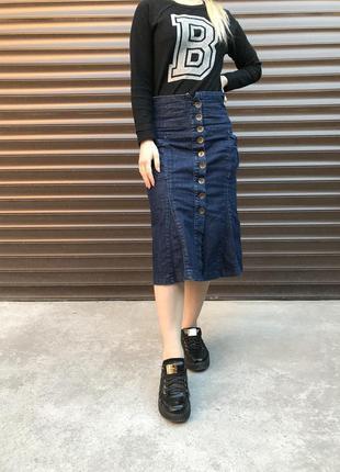 Юбка джинсовая с высокой талией на пуговицах