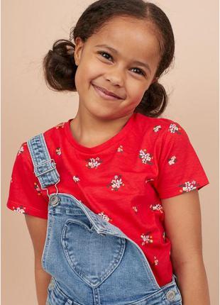 Яркие цветочные футболочки h&m хлопок девочкам