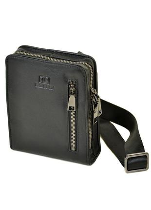 Мужская компактная кожаная сумка-планшет, черная сумка на плечо