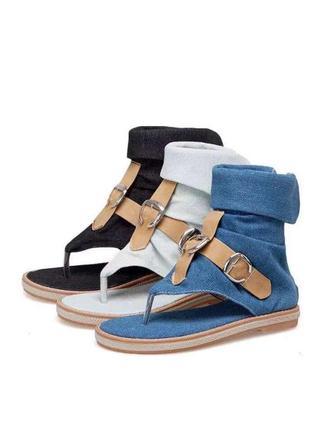 Стильные джинсовые римлянки синие-летние ботинки