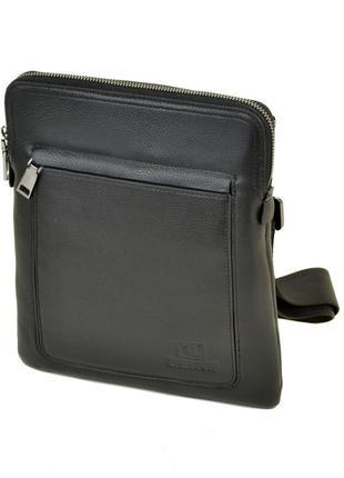 Мужская кожаная сумка-планшет , черная сумка на плечо