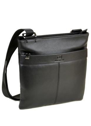 Мужская кожаная сумка-планшет, черная сумка на плечо