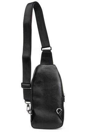 Кожаная мужская сумка-рюкзак на плече черная
