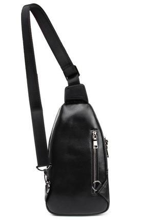 Кожаная мужская сумка, черный рюкзак на плечо