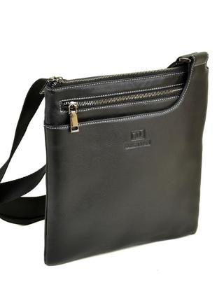Мужская плоская кожаная сумка-планшет , черная сумка на плечо