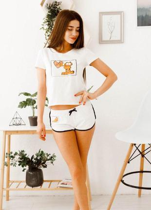 Пижама хлопковая, футболка + шорты