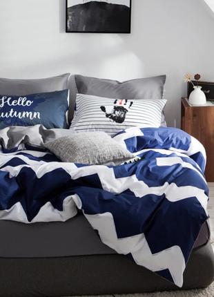 Комплект Постельного Белья Сатин Евро Синий 200х230 (BS-103)