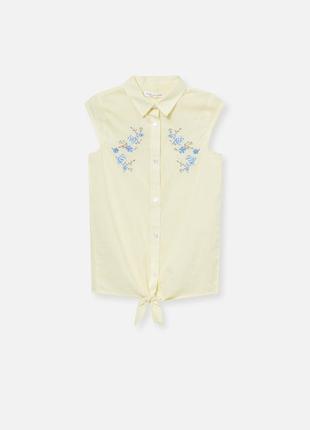 Хлопковая рубашка для девочки с цветочной вышивкой