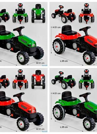 Трактор педальный 07-314 цвет КРАСНЫЙ и ЗЕЛЁНЫЙ, клаксон на руле,