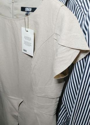 Платье из льна нюдового оттенка от asos