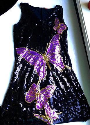 Платье вечернее в паетки и бабочки черное, фиолетовое на новый...