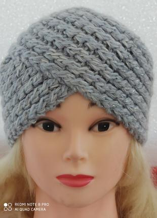 шапка-повязка светло-серая