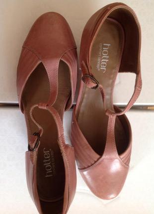 Немецкие кожаные туфли босоножки hotter 41 (27-9.5) на широкую...