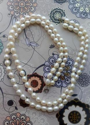 Колье, бусы, ожерелье из натурального речного барочного жемчуга