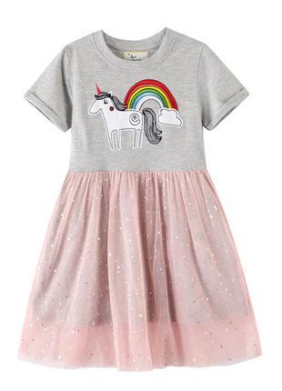 Платье для девочки, серое. красивый единорог.