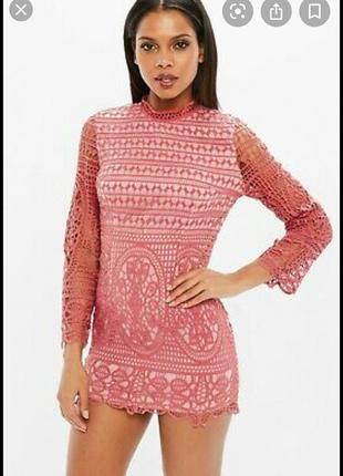 Кружевное пудровое платье missguided petite