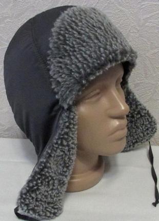 Шапка ушанка серая, иск. овчина, 54-57р., универсальный размер!