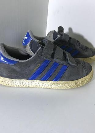 Детские замшевые кроссовки на липучках adidas gazelle ( адидас...