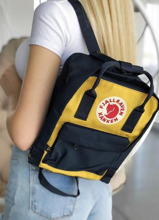 Рюкзак fjallraven kanken mini 7 l black  yellow купить фьялрав...