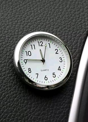 Часы автомобильные, часы в машину, часы в авто. Белые.