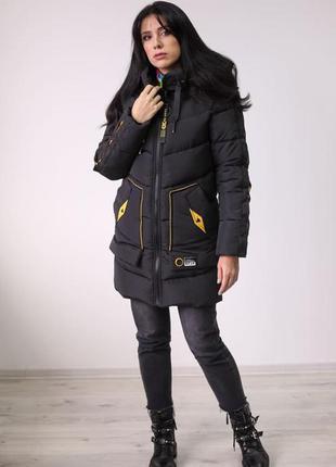 Зимнее пальто waukeen «ламель» черный
