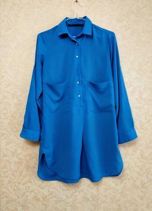 Акция 1+1 = 3 ❗❗❗ длинная голубая рубашка, блуза zara