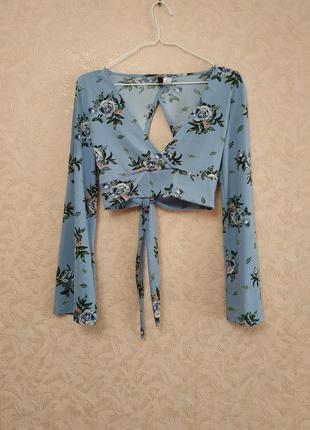 Акция 1+1 = 3 ❗❗❗ короткая блуза с расклешенными рукавами h&m