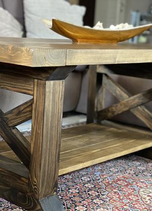 Журнальный кофейный столик из натурального дерева