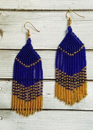 Серьги из синего и золотого бисера