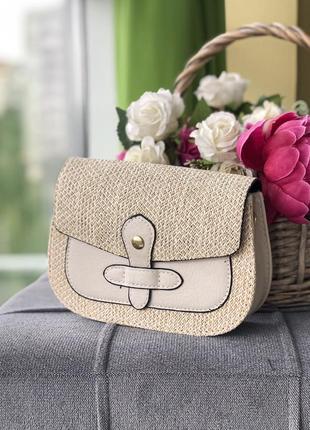 Стильная сумка сумочка соломенная бежевая