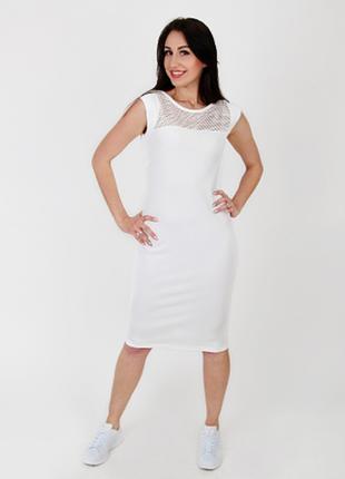 Платье-кокетка с вставкой из сетки