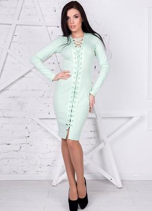 Мятное платье с завязками
