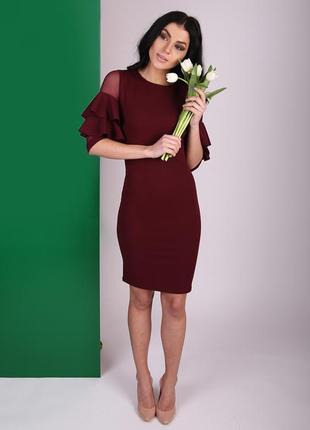 Весна 2018!!! эффектное бордовое платье с  пышными рукавами фо...