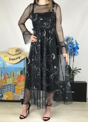 Платье миди с фатином