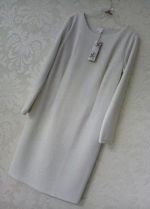 Женственное молочно-серебристое фактурное платье,,,,, разные р...