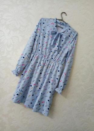 Нежнейшее сатиновое небесно-голубое принтованое пышное платье ...