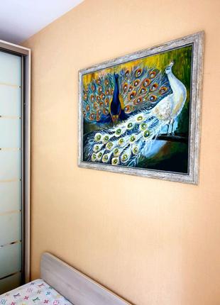 "Картина маслом ""Два павлина""80×60"
