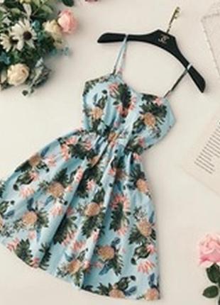 Утонченное пышное мини летнее платье в мега трендовый принт