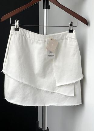 Белая джинсовая юбка stradivarius