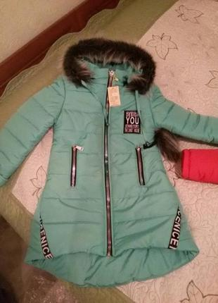 Зимняя куртка для девочки подростка рост 134 140,146. производ...