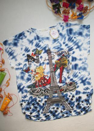 Шикарная футболка в мраморный принт с эйфелевой башней украшен...