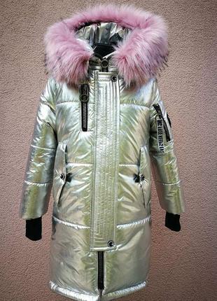 Зимнее пальто для девочек. выполнено из качественной плащевки.