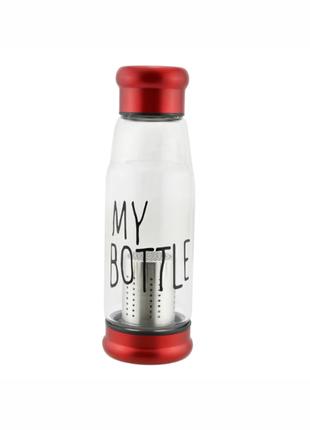 Бутылка My Bottle стеклянная с ситечком для чая в неопреновом чех