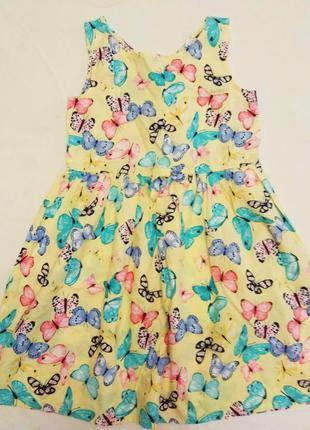 Желтое детское платье с бабочками H&M