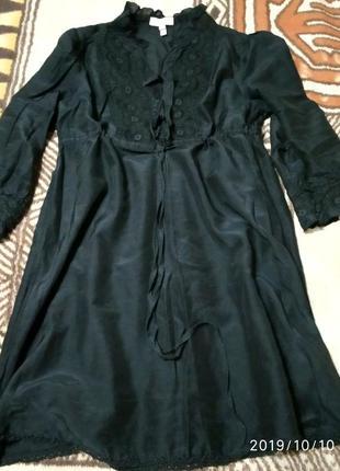 Стильная чёрная блуза, туника с ажуром и рюшами
