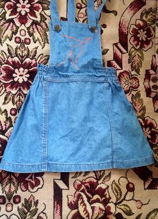 Джинсовый сарафан, школьный комбинезон юбка на девочку