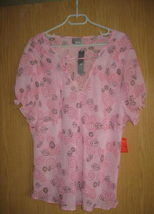 """Новая легкая розовая блузка """"south"""" р. 60"""