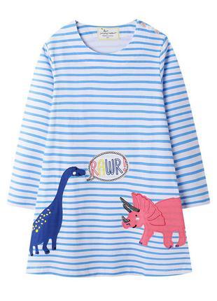 Платье для девочки, голубое. два динозавра.